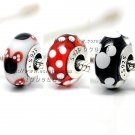 3pcs S925 Silver Minnie Mitch combination Murano Glass Beads Charms Fits European Bracelets