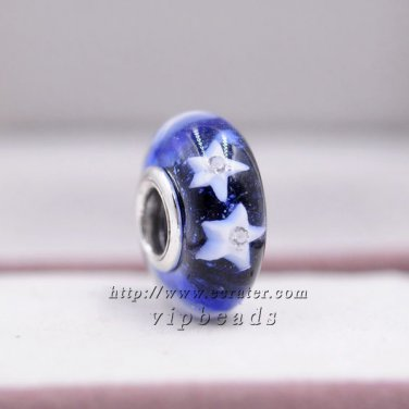 S925 Sterling Silver Five-pointed star Murano Glass Beads Charms Fits European jewelry Bracelets