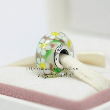 S925 Silver Inlaid flowers Murano Glass Beads Charms Fits European DIY jewelry Bracelets ZS272