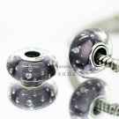 S925 Silver Purple effervescence Murano Glass Beads Charms Fits European jewelry DIY Bracelets ZS278