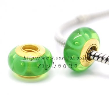 Green circle 18K 585 gold-plated Murano Glass Beads Charms Fits European jewelry Bracelets