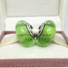 S925 Silver Green fluorescence Murano Glass Beads Charms Fits European jewelry DIY Bracelets