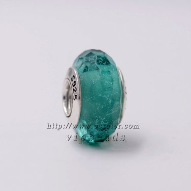 S925 Silver Turquoise shiny faceted Murano Glass Beads Charms fit European jewelry bracelet 332