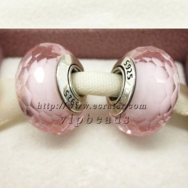 S925 Silver Pink faceted Murano Glass Beads Charms fit European jewelry bracelet 094