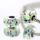 S925 Silver Grass green faceted Murano Glass Beads Charms fit European jewelry bracelet 238