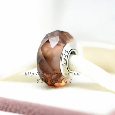 S925 Silver Brown four sides faceted Murano Glass Beads Charms fit European jewelry bracelet 317