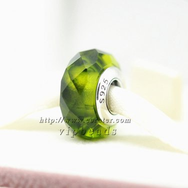 S925 Silver green four sides faceted Murano Glass Beads Charms fit European jewelry bracelet 318