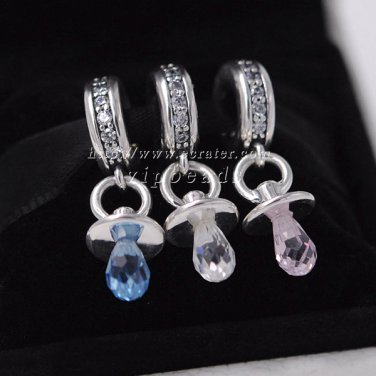 2016 Woman jewelry pink blue white baby pacifier jewelry set 925 sterling silver Charm Beads