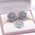NEW women jewelry Set Crystalized Floral Snowflakes Charm Set with beads S925 Sterling Silver