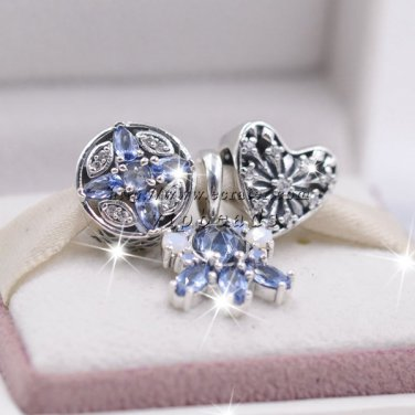 NEW women jewelry Set blue Crystalized Snowflakes Love Charm beads S925 Silver Fit European Bracelet