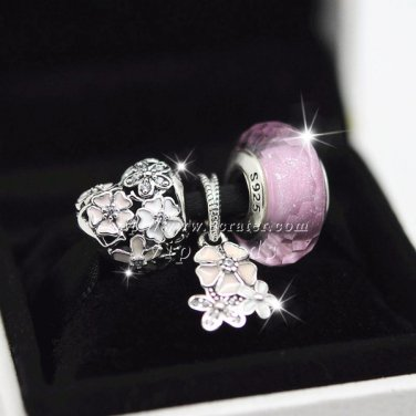 925 silver fashion three-piece Gift Spring Blooming Blush Enamel Clear Cz charm beads Jewelry Sets