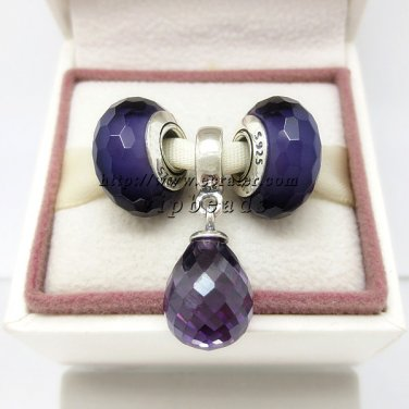 NEW S925 Sterling Silver Purple Faceted Screw Core Murano Glass Beads and Dangle Gift Set