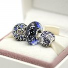 NEW S925 Sterling Silver Midnight Charm Jewelry Sets Fit European Woman Jewelry