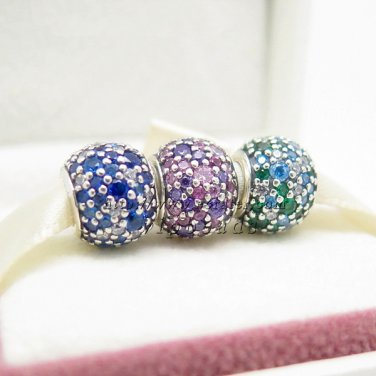 NEW S925 Silver Multi-colored Pave Light Style Charm Jewelry Set Fit European charm Bracelet