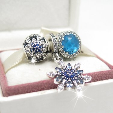 NEW S925 Sterling Silver New 2015 Winter Blue Wonderland Charm Jewelry Sets