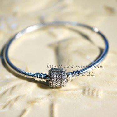S925 Silver Bracelet Barrel Clasp With Clear CZs standard Bracelet Chain Snake charm Bracelet