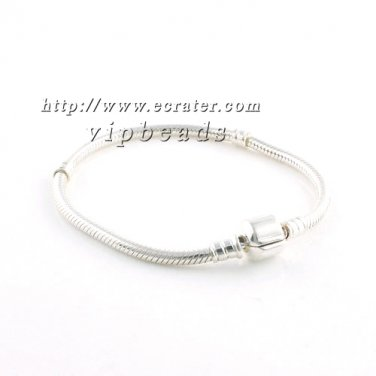 Fit Pandora DIY Murano Glass Charm Beads Bracelets S925 Silver Snake Chain With Clasp Women jewelry