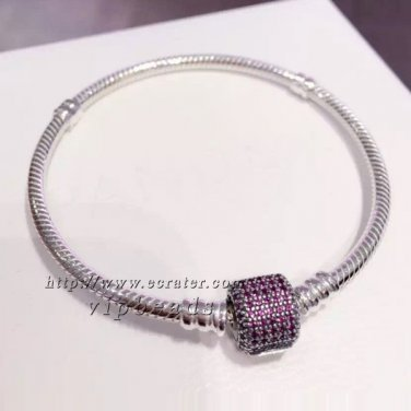 S925 Silver Signature Clasp With Royal Pink CZ Barrel Clasp Standard DIY charm Bracelet