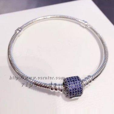 S925 Silver Signature Clasp With Royal- Blue CZ Barrel Clasp Standard DIY charm Bracelet