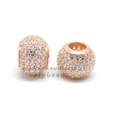 Rose Gold Plated Plating Silver Pave Ball Bead Fit European Woman Jewelry Charm Bracelets
