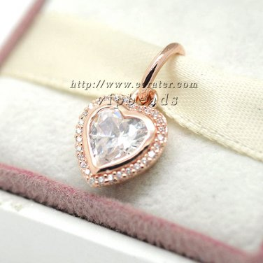 Rose Gold Plated Sparkling Love with CZ Pendant Charm Bead Fit European Woman Jewelry Bracelets