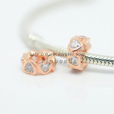 NEW Rose Gold Plated Plating Space In My Heart with Clear CZ Spacer Beads Fit Charm Bracelets