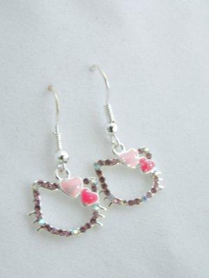 Hello Kitty Sterling Silver Hook Crystal Earrings