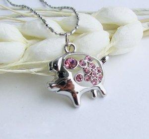 Cute Piggy Crystal Necklace