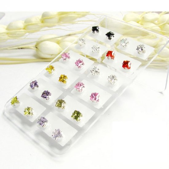 Wholesale lots 24 4mm Crystal Nickle Free Stud Earrings