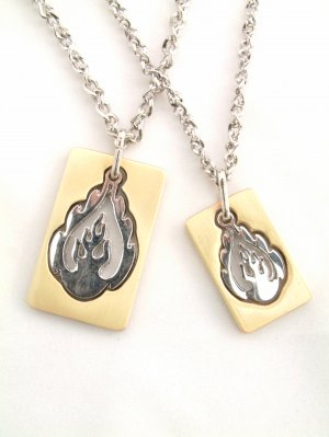 A PAIR OF LOVER COUPLE'S FLAME SHAPE NECKLACE