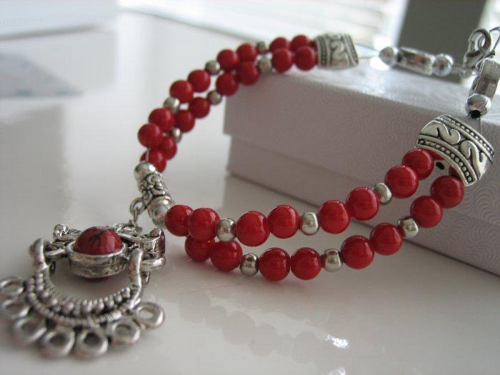 Unique Red Coral Stone Tibetan Silver Bracelet