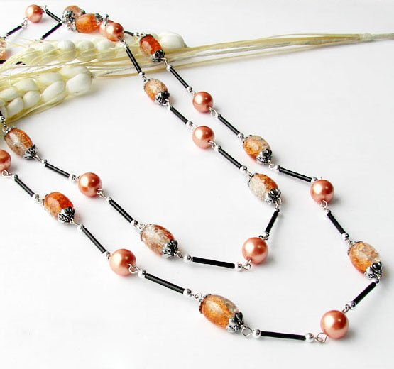 Beaded Necklace, Glass & Lazurite, Orange