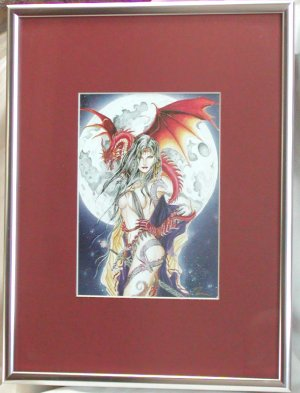 Nene Thomas Dragon Moon Hand Signed Matted & Framed