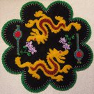 """Dragon"" Lantern Candle Mat Penny Rug With Flowers PATTERN #154"