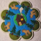 """Log Cabin Moose"" Candle Mat Penny Rug Pine Trees Cottage On A Lake PATTERN #166"