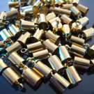 Finding - 10 pcs Gold Round Tone Cord Buckle End Cap with Loop ( inside 4mm Diameter )