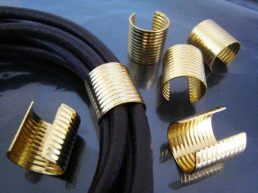 Finding - 6 pcs Gold Large Adjustable Crimp Round Tone Tube Curve Fold Over End Cap 16mm x 15mm