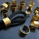 Finding - 6 pcs Gold Adjustable Crimp Round Tone Tube Curve Fold Over End Cap 10mm x 6mm