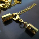 Finding - 2 Sets Gold Adjustable Fold Over Crimps With Lobster Clasp and Extender ( Inside 4mm )