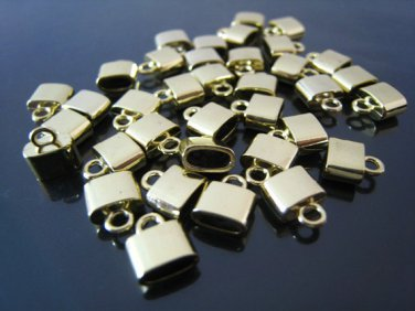 Finding - 6 pcs Gold Small Oval Flat End Cap 9mm x 8mm x 4mm  ( inside 6mm x 3 mm Diameter )