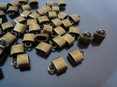 Finding - 6 pcs Antique Brass Oval Flat End Cap 9mm x 8mm x 4mm  ( inside 6mm x 3 mm Diameter )