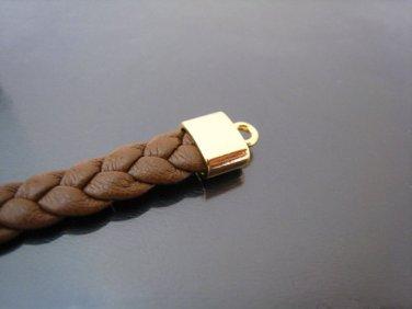 Finding - 6 pcs Gold Oval Flat End Cap 10mm x 9mm x 5mm ( inside 7mm x 3 mm )
