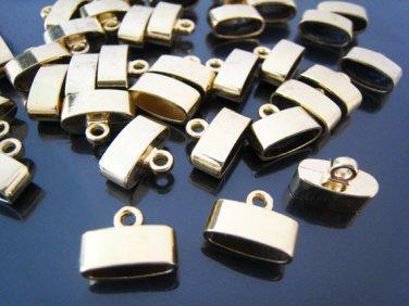 Finding - 4 pcs Gold Oval Flat End Cap 15mm x 10mm x 7mm ( inside 12mm x 5mm width )