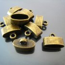 Finding - 4 pcs Antique Brass Oval Flat End Cap 15mm x 10mm x 7mm ( inside 12mm x 5mm width )