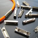 Finding - 10 pcs Silver Adjustable Crimp Round Tone Tube Curve Fold Over End Cap 11mm x 2mm