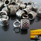 Finding - 6 pcs Vintage Silver Round Tone Cord Buckle End Cap with Loop ( inside 7mm Diameter )