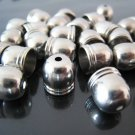 Finding - 6 pcs Silver Dome Round Tone Cord Buckle End Cap with Small Hole ( Inside 8mm diameter )
