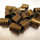 Finding - 6 pcs Antique Brass Round End Cap with Loop 12.5mm x 9mm ( inside 8mm Diameter )
