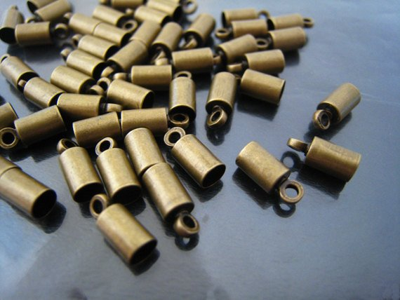 Finding - 10 pcs Antique Brass Round End Cap with Loop 9mm x 4mm ( inside 3mm Diameter )