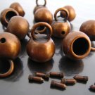 .Finding - 2 pcs Red Copper Round End Cap with Large Loop 20mm x 15.5mm ( Inside 9mm Diameter )
